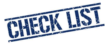 check list: check list blue grunge square vintage rubber stamp