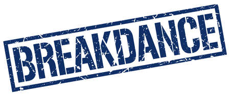 breakdance: breakdance blue grunge square vintage rubber stamp