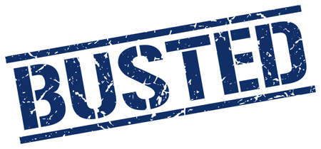 busted: busted blue grunge square vintage rubber stamp
