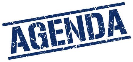 agenda: agenda blue grunge square vintage rubber stamp