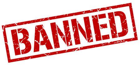 banned: banned red grunge square vintage rubber stamp Illustration