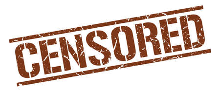 censored: censored brown grunge square vintage rubber stamp