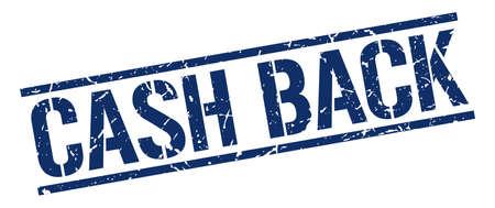 cash back: cash back blue grunge square vintage rubber stamp Illustration