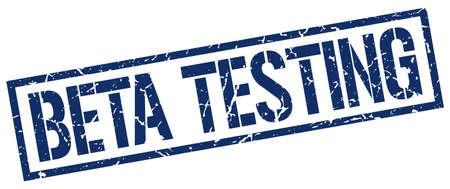 tester: beta testing blue grunge square vintage rubber stamp Illustration