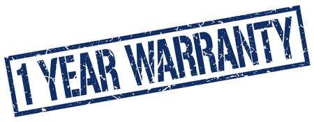 1 year: 1 year warranty blue grunge square vintage rubber stamp