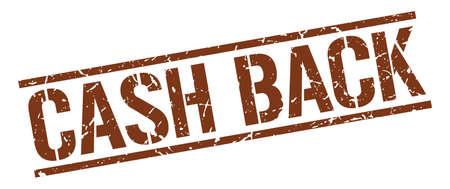 cash back: cash back brown grunge square vintage rubber stamp