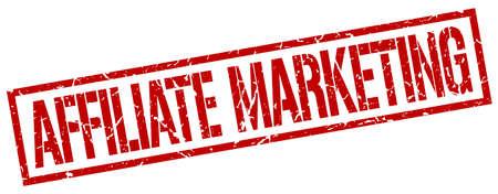 affiliate marketing: affiliate marketing red grunge square vintage rubber stamp Illustration