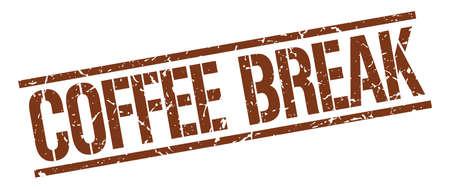 coffee break: coffee break brown grunge square vintage rubber stamp