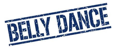 belly dance: belly dance blue grunge square vintage rubber stamp Illustration