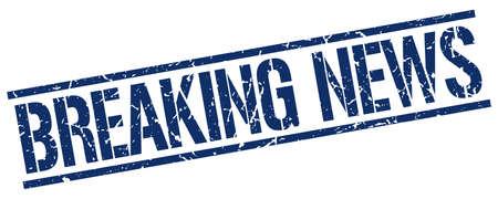 breaking news: breaking news blue grunge square vintage rubber stamp