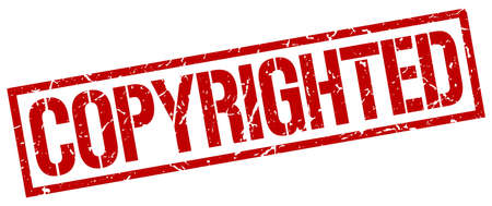 copyrighted: copyrighted red grunge square vintage rubber stamp Illustration