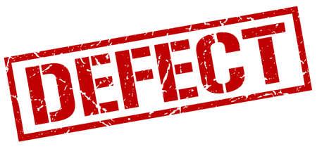 defect: defect red grunge square vintage rubber stamp