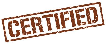 certified: certified brown grunge square vintage rubber stamp Illustration