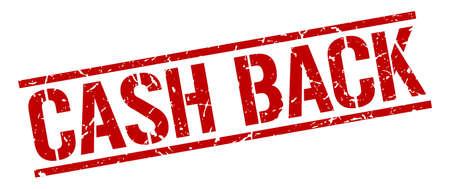 cash back: cash back red grunge square vintage rubber stamp