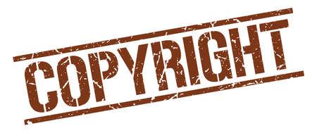 copyrighted: copyright brown grunge square vintage rubber stamp