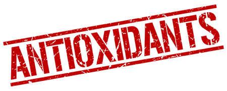 antioxidants: antioxidants red grunge square vintage rubber stamp Illustration
