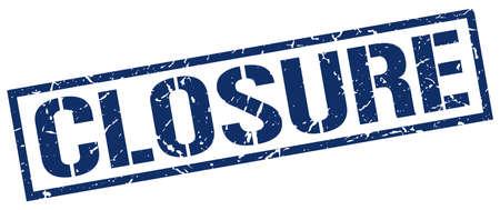 closure: closure blue grunge square vintage rubber stamp Illustration