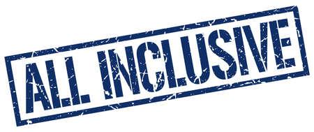 inclusive: all inclusive blue grunge square vintage rubber stamp