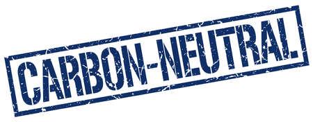 co2 neutral: carbon-neutral blue grunge square vintage rubber stamp