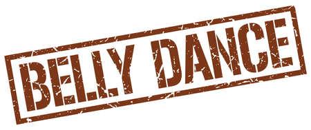 belly dance: belly dance brown grunge square vintage rubber stamp