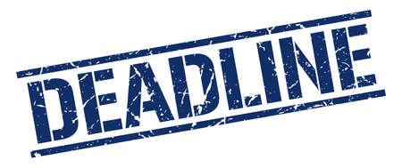 deadline: deadline blue grunge square vintage rubber stamp