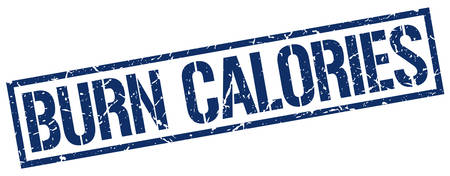 calories: burn calories blue grunge square vintage rubber stamp