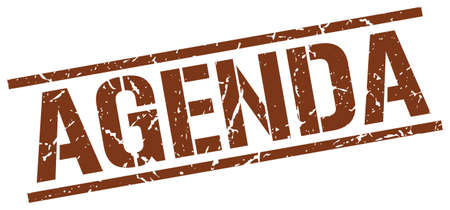 agenda: agenda brown grunge square vintage rubber stamp