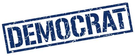 democrat: democrat blue grunge square vintage rubber stamp Illustration