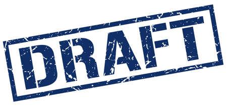 draft blue grunge square vintage rubber stamp