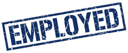 employed: employed blue grunge square vintage rubber stamp