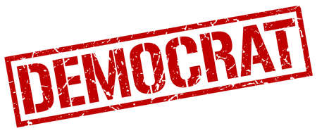 democrat: democrat red grunge square vintage rubber stamp
