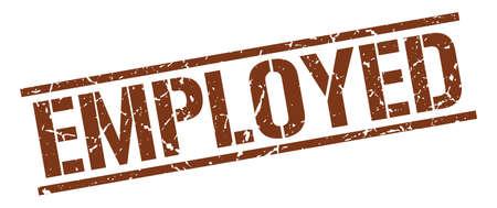 employed: employed brown grunge square vintage rubber stamp Illustration