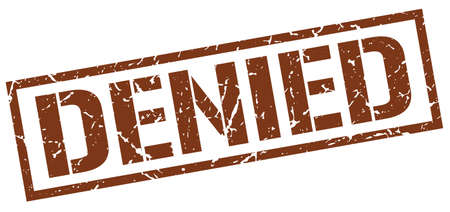 denied: denied brown grunge square vintage rubber stamp