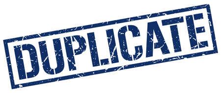 duplicate: duplicate blue grunge square vintage rubber stamp Illustration