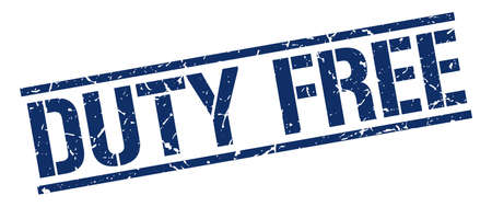 duty: duty free blue grunge square vintage rubber stamp Illustration
