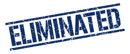 eliminated: eliminated blue grunge square vintage rubber stamp