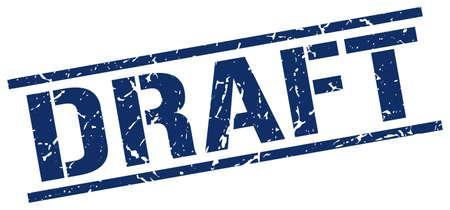 draft: draft blue grunge square vintage rubber stamp