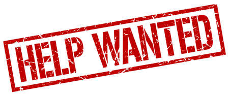 help wanted sign: help wanted red grunge square vintage rubber stamp Illustration