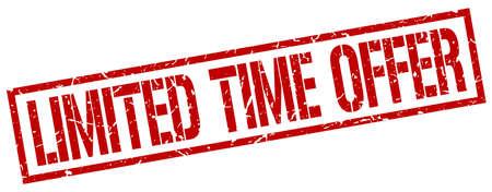 limited time: limited time offer red grunge square vintage rubber stamp
