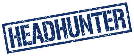 headhunter: headhunter blue grunge square vintage rubber stamp Illustration