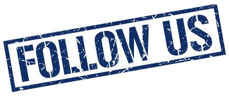 follow: follow us blue grunge square vintage rubber stamp