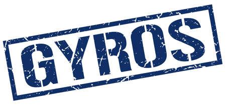 gyros: gyros blue grunge square vintage rubber stamp