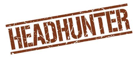 headhunter: headhunter brown grunge square vintage rubber stamp Illustration