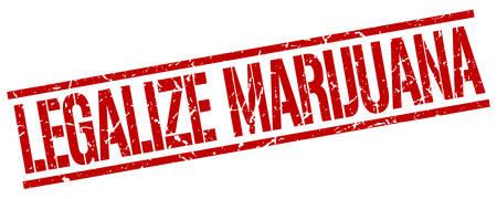 legalize: legalize marijuana red grunge square vintage rubber stamp Illustration