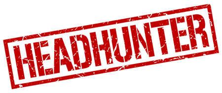 headhunter: headhunter red grunge square vintage rubber stamp