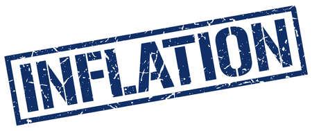 inflation: inflation blue grunge square vintage rubber stamp Illustration
