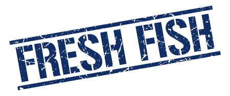 fresh fish: fresh fish blue grunge square vintage rubber stamp