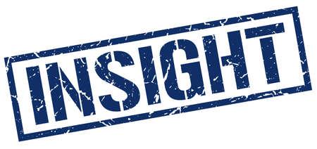 insight: insight blue grunge square vintage rubber stamp Illustration