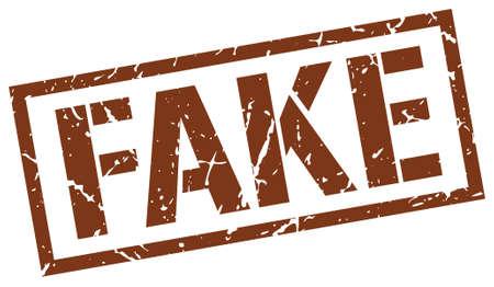 fake: fake brown grunge square vintage rubber stamp