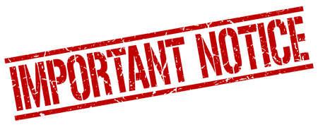 important notice: important notice red grunge square vintage rubber stamp Illustration